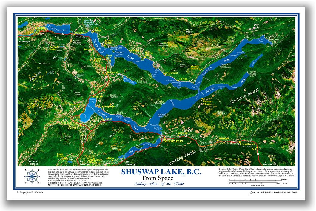 Shuswap Lake satellite place mat