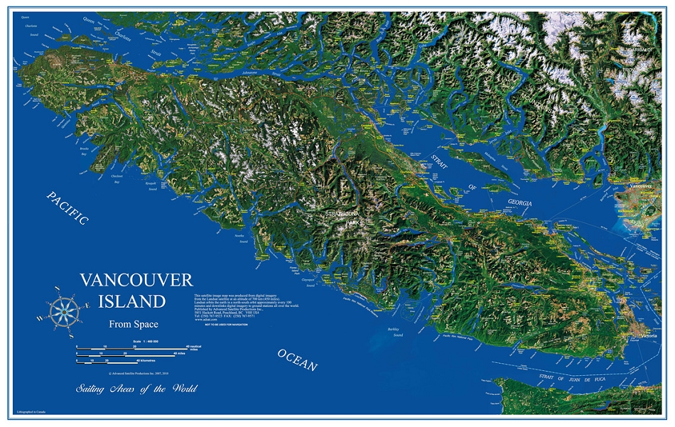 Satellite Map Of Georgia.Vancouver Island Image Map