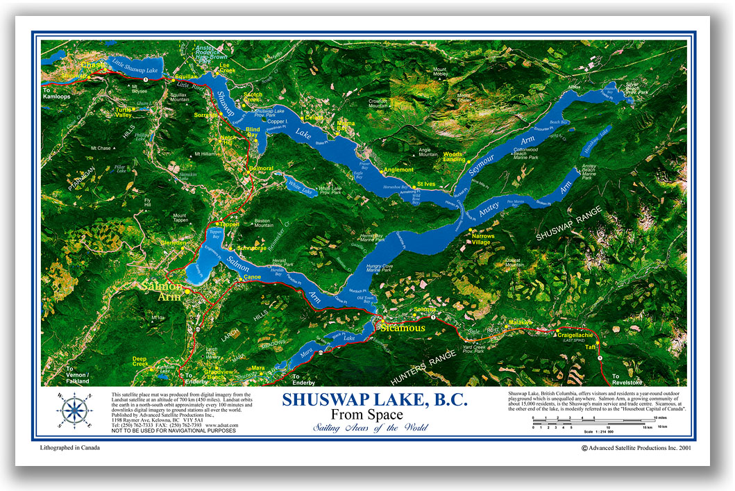 Shuswap Lake Map Shuswap Lake satellite place mat Shuswap Lake Map